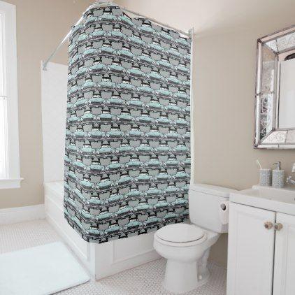1950s Vintage Car Pattern Shower Curtain Zazzle Com Cool Shower Curtains Patterned Shower Curtain White Shower Curtain