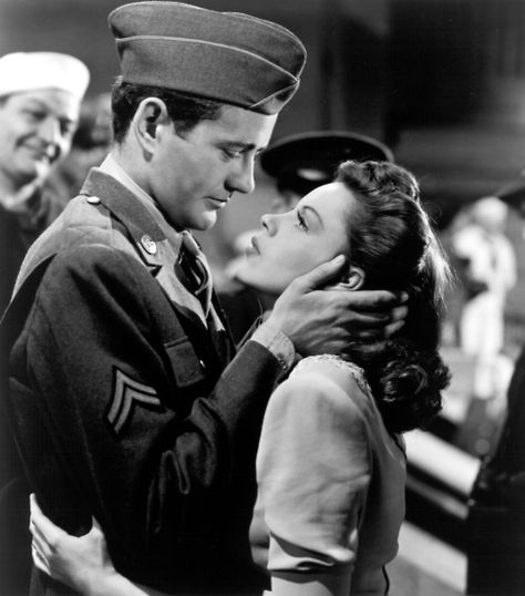 """Alice Maybery (Judy Garland): """"Sometimes when a girl dates a soldier she isn't only thinking of herself. She knows he's alone and far away from home and no one to talk to and... What are you staring at?"""" // Corporal Joe Allen (Robert Walker): """"You've got brown eyes."""" -- from The Clock (1945) directed by Vincente Minnelli"""