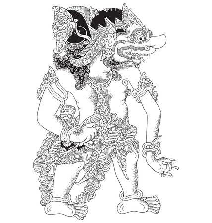Wahmuka A Character Of Traditional Puppet Show Wayang Kulit From Java Indonesia Seni Gambar Indonesia