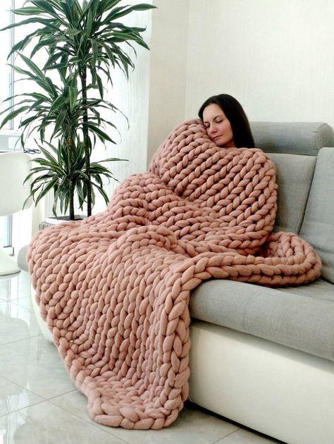 90 colors! Premium Chunky knit blanket 18 micron, Arm knit blanket, Large Knit Blanket, Thick blanke
