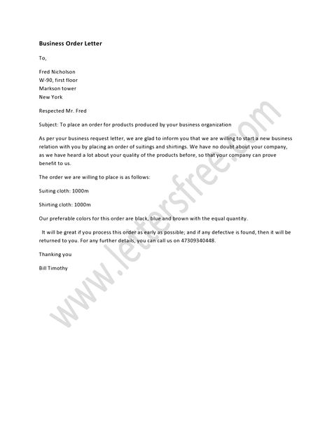 A Business Order Letter Is Written To Make A Business Order