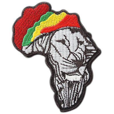 WOVEN PATCH RASTA AFRICA JAMAICA REGGAE IRON ON//SEW ON LION OF JUDAH