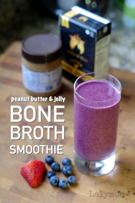 A healthy and delicious Bone Broth Peanut Butter and Jelly Smoothie Recipe .  What a great idea for getting your fruits and veggies plus a bonus of protein!  If you have been looking for a satisfying healthy smoothie to add to your diet, you should  try this one!  #breakfast #healthyliving #recipes #healthy #dinner #paleo #healthyrecipes #lalymom #health #ketosmoothierecipes