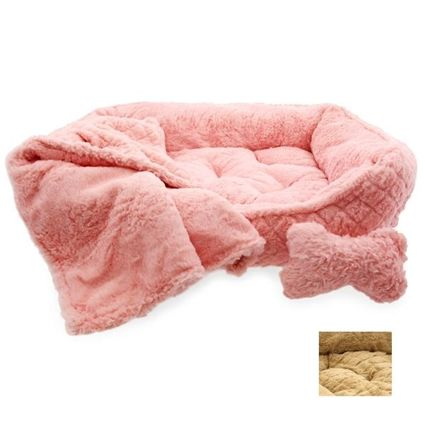 plush faux fur dog bed with pillow and