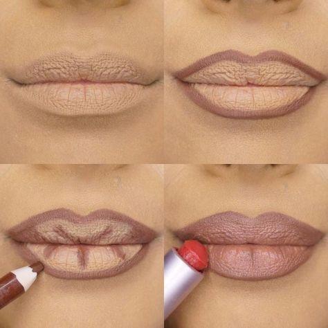 Apply Kylie Jenner Lipstick lip pencil- Make up - Makeup Kylie Jenner Lipstick, Lip Tutorial, Contouring Tutorial, Lipstick Tutorial, Lip Contouring, Concealer, Make Up Tricks, Big Lips, How To Line Lips