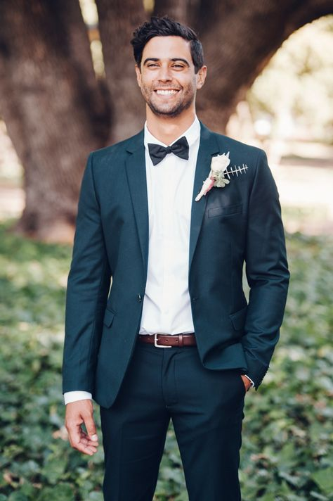 Outdoor Australian Wedding with Rue De Seine Gown & White BM Dress - Tuxedo - Ideas of Tuxedo - (Example of how to wear a suit with a bowtie at an outdoor wedding) Groom in Tuxedo & Bow Tie Big Love Photography