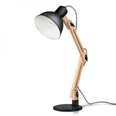 Tomons Wood Swing Arm Desk Designer Table Lamp Reading Lights Study Work Office Bedside Nightstand Lamp Black With Images Desk Lamp Led Desk Lamp Table Lamp Wood