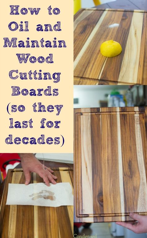 How to Oil and Treat Wood Cutting Boards Do you take care of your wood cutting boards? If you do, they have the potential to last for years! Here is a quick tutorial on how to oil and maintain wood cutting boards in just a few minutes each month. Diy Cutting Board, Wood Cutting Boards, Chopping Boards, Butcher Block Cutting Board, Ideas Para Trabajar La Madera, Cleaning Solutions, Cleaning Hacks, Cleaning Wood, Tips & Tricks