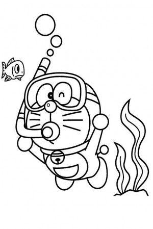 ร ปภาพการ ต นระบายส โดเรม อนดำน ำ Doraemon Disegni Libri Da Colorare