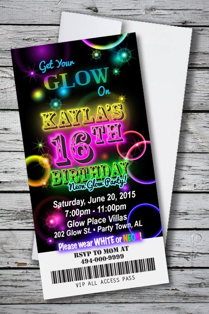 Birthday Party Invitation GLOW IN THE DARK NEON BLACKLIGHT THEME 4 X 8 With Envelopes Only 133 Each For 100 FREE SHIPPING PERS