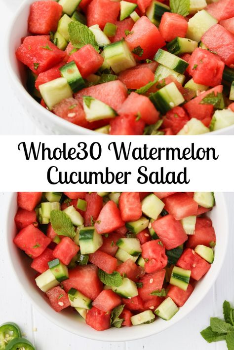 A cool and refreshing sweet and spicy salad made from watermelon cucumber lime juice jalapeño and fresh mint! This salad is and paleo friendly. Cucumber Recipes, Cucumber Salad, Healthy Salad Recipes, Vegetarian Recipes, Cooking Recipes, Watermelon Mint Salad, Diet Recipes, Watermelon Salad Recipes, Freezer Recipes