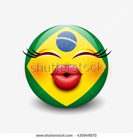 Cute Kissing Emoticon Isolated On White Background With Brazil Flag Motive Smiley Vector Illustration Emoticon White Stock Image Brazil Flag