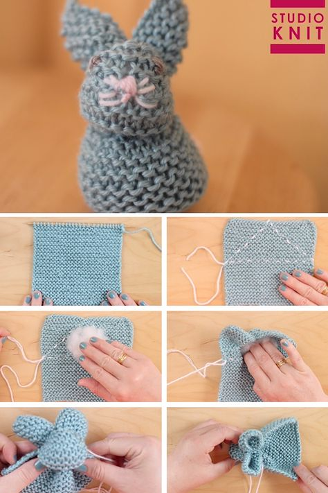 From just a knitted square you will be able to create the stuffed softie animal shape of a Bunny.  How to Knit a Bunny from a Square with Video Tutorial by Studio Knit. #StudioKnit #knittingvideo #knittedbunny #bunnyfromasquare #easyknitting