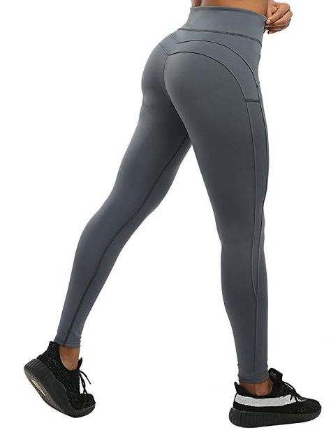 665bb6f3e92 NORMOV Butt Ruched Workout Leggings for Women- V Shape Waist Stretchy  Fitness Yoga Pants