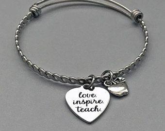 6ee3276fc8424 Teacher Bangle, Teacher Charm Bracelet, Love Inspire Teach, Apple ...