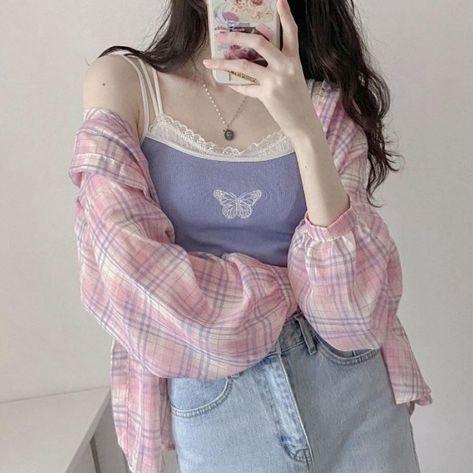 Girly classy clothes aesthetic style summer 2020 gentle korea shopping vsco highschool