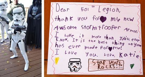 Little girl gifted realistic Stormtrooper costume for Halloween!