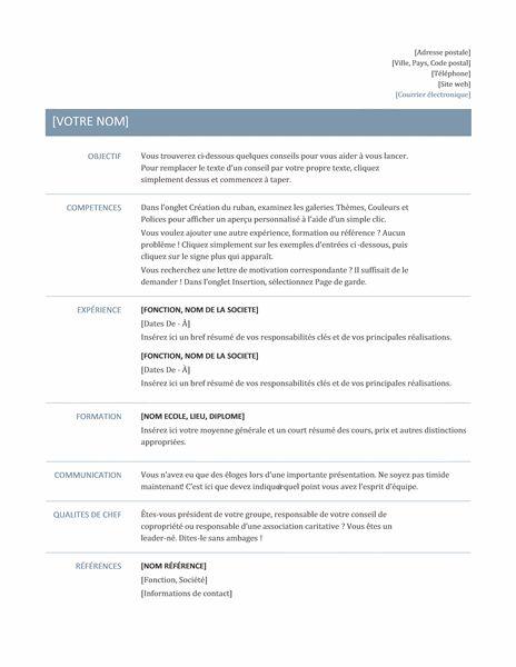 C V Intemporel Basic Resume Job Resume Template Resume Template Professional