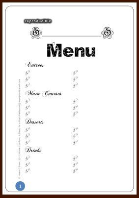 Free Printable Blank Menu Templates In 2019 Free Printable