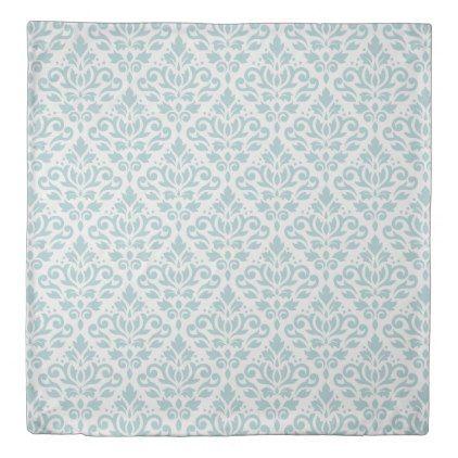 Scroll Damask Big Ptn Lt Duck Egg Blue On White Duvet Cover Zazzle Com White Duvet Covers Duvet Cover Pattern Damask Pattern