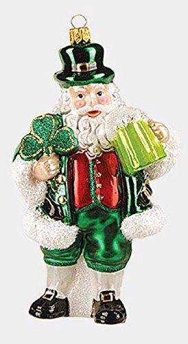 Green Irish Santa With Clover And Beer Polish Glass Christmas Ornament Ireland Christmas Ornaments Christmas Figurines Glass Christmas Ornaments