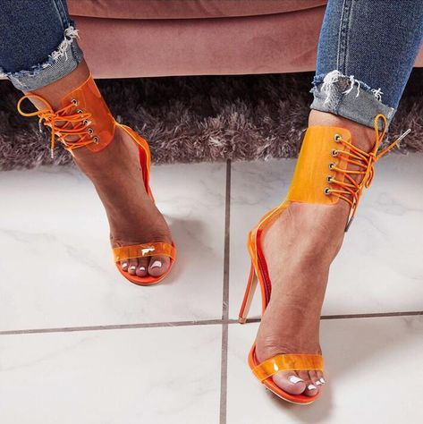 9451811bbc9 Trendy Heel Covering Lace-Up Stiletto Heel Cross Strap Sandals Cut-out Clear  PVC Gladiator Heels Dress Shoes Yellow Blue Pumps