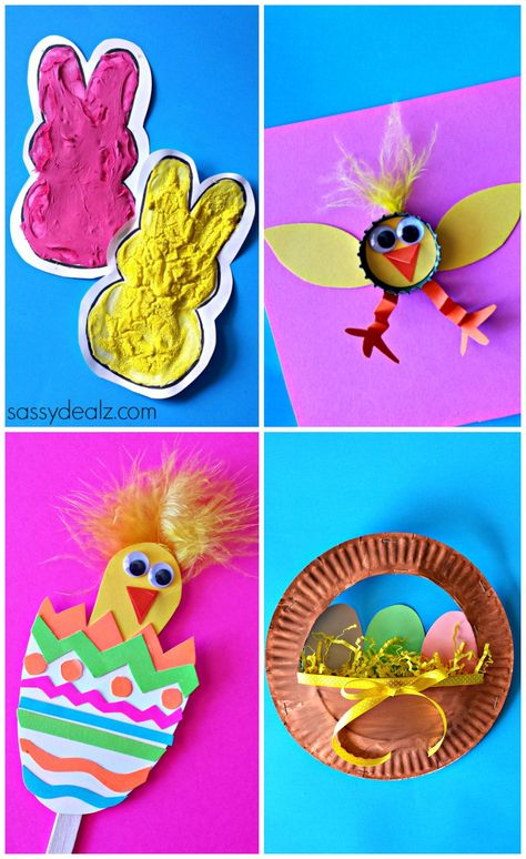 Easter crafts for kids! #diy bunnies, easter eggs, chicks, a