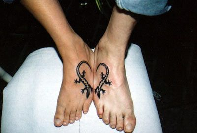 Lovers heart with lizard for couples tattoo - tattoos book -