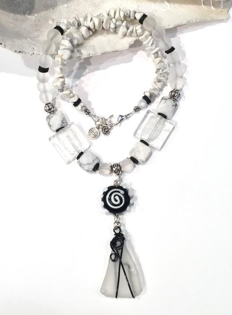 Boho Beach Necklace Set, Wire Wrapped Sea Glass Pendant, Sea Glass Jewelry, Black and White Jewelry