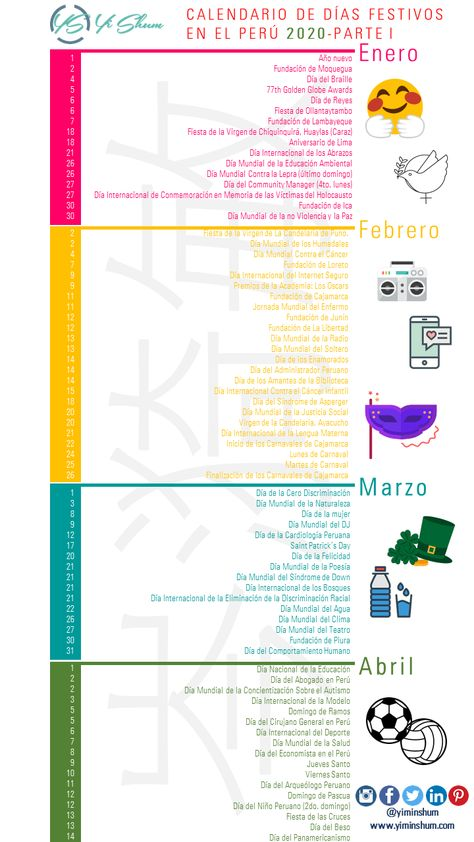 Calendario De Dias Festivos En Peru 2020 Calendario De Salud