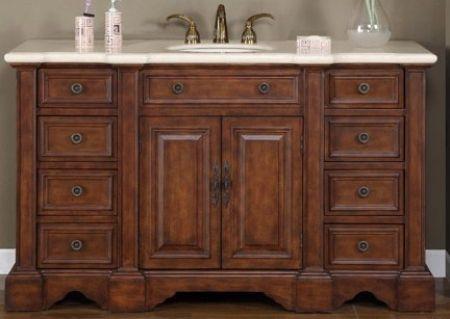 58 Inch Walnut Single Sink Bathroom Vanity Silkroad Exclusive