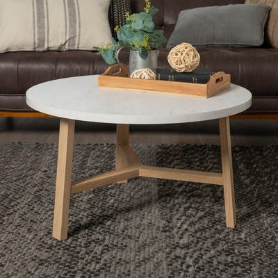 Modern White Faux Marble Light Oak Round Coffee Table Coffee