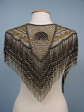 I love things like this! Look at that workmanship! Black & Gold Beaded Evening Collar, c.
