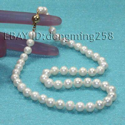 Genuine 8-9mm White Freshwater Cultured Pearl Necklace Bracelet /& Earrings Set