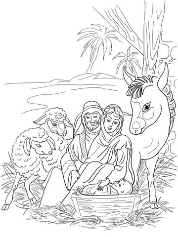 Nativity Scene With Holy Family And Animals Coloring Page