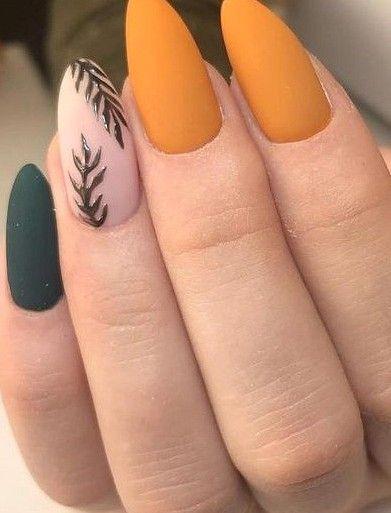 40 Warm Fall Nail Design Make You Cute Sooshell In 2020 Orange Acrylic Nails Orange Nails Almond Nail Art