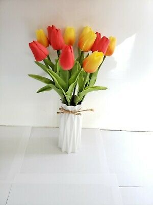 Plastic Vase With 12 Artf Flowers Silk Tulip Royal Details For Any Occasion Fashion Hom In 2020 Bouquet Home Decor Silk Flower Wedding Bouquet Silk Flowers Wedding