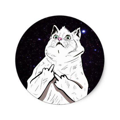 Bad cat says fluff off classic round sticker round stickers