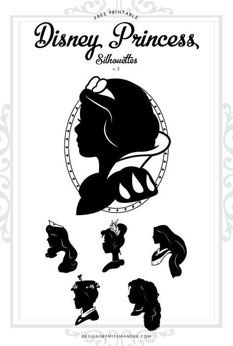 graphic about Disney Silhouette Printable named Disney Princess Silhouettes v.3 Printables, Fonts