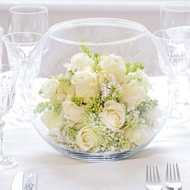 Pwedding Fish Bowl Centrepiece With Floral Arrangementsp