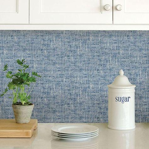 Navy Poplin Texture Peel Stick Wallpaper Peel And Stick Wallpaper Nuwallpaper Kitchen Wallpaper