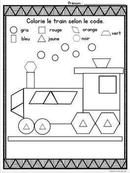 French Colour By Shape Math Worksheets No Prep Kinderg Atividades