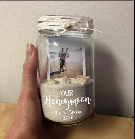 Our Honeymoon Picture Frame, Sand Jar, Polaroid, Memory Box, Mason Jar, Beach Vacation, Just Married #topweddingideassimple #bestweddingideasbodytypes #simpleweddingideas #topweddingideasproducts #weddingideasonabudget