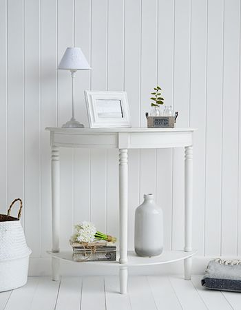 Colonial White Furniture The Half Moon Console Table With A Shelf Laid Back Style Of For Light And Airy Interior