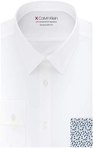 Great For Calvin Klein Mens Dress Shirts Xtreme Slim Fit Solid Thermal Stretch Point Collar Men Clothing 42 9 Chicideas From Top Store