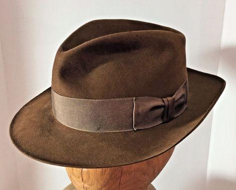 a89f0e5d02159 Vtg Stetson 1984 Lucas Films Replica Indiana Jones Brown Felt Fedora Hat 7  1 2  Stetson  Fedora