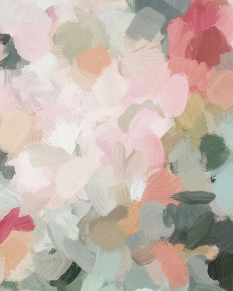 Forest Green Fuchsia Blush Pink Abstract Flower Spring Painting Art by Rachel Elise