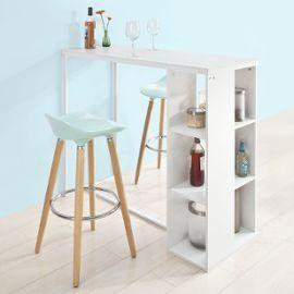 Sobuy Fwt39 W Table Haute De Bar Mange Debout Cuisine Avec 3 Etageres De Rangements Blanc En 2020 Table Haute Cuisine Table Haute Etagere Rangement