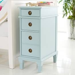 Carved Solid Mango Wood Bedside Table With Drawer In Whitewash In