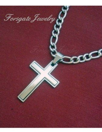 Men's 2 Pc. 316L Stainless Steel Cross Pendant by ForsgateJewelry